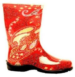 SLOGGERS 5004RD09 SIZE 9 WOMENS GARDEN BOOTS PAISLEY RED WAT