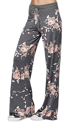 Women's Comfy Drawstring Wide Leg Floral Lounge Pajamas Pala