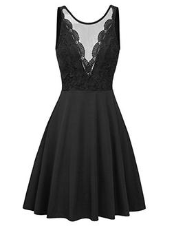 GRACE KARIN Womens Elegant Floral Lace Sleeveless Fit and Fl