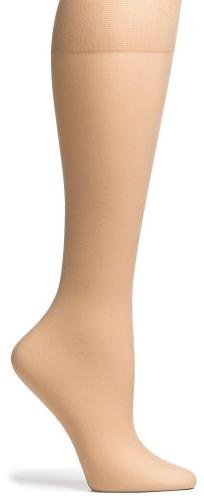 No Nonsense Comfort Top Sheer Toe Knee Highs, Size 1, Nude,