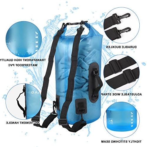 HEETA Roll Transparent Sack 10L/20L Dry for Beach, Hiking, Kayak, Fishing, Boating Other Outdoor Activities 20L