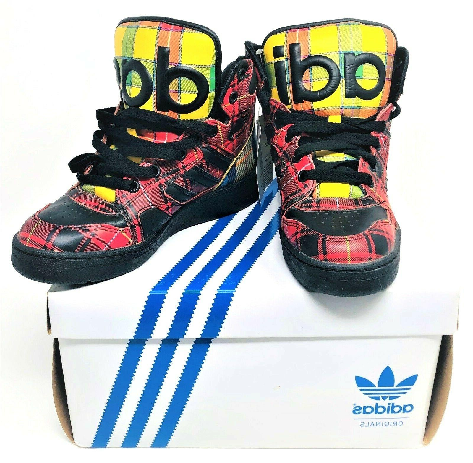 Adidas High Top Plaid Shoes Sneakers Size Mens