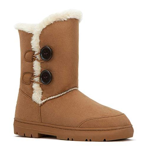 snow boots button fully fur