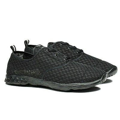 NewDenBer Women's Mesh Drying Aqua All Black 5.5