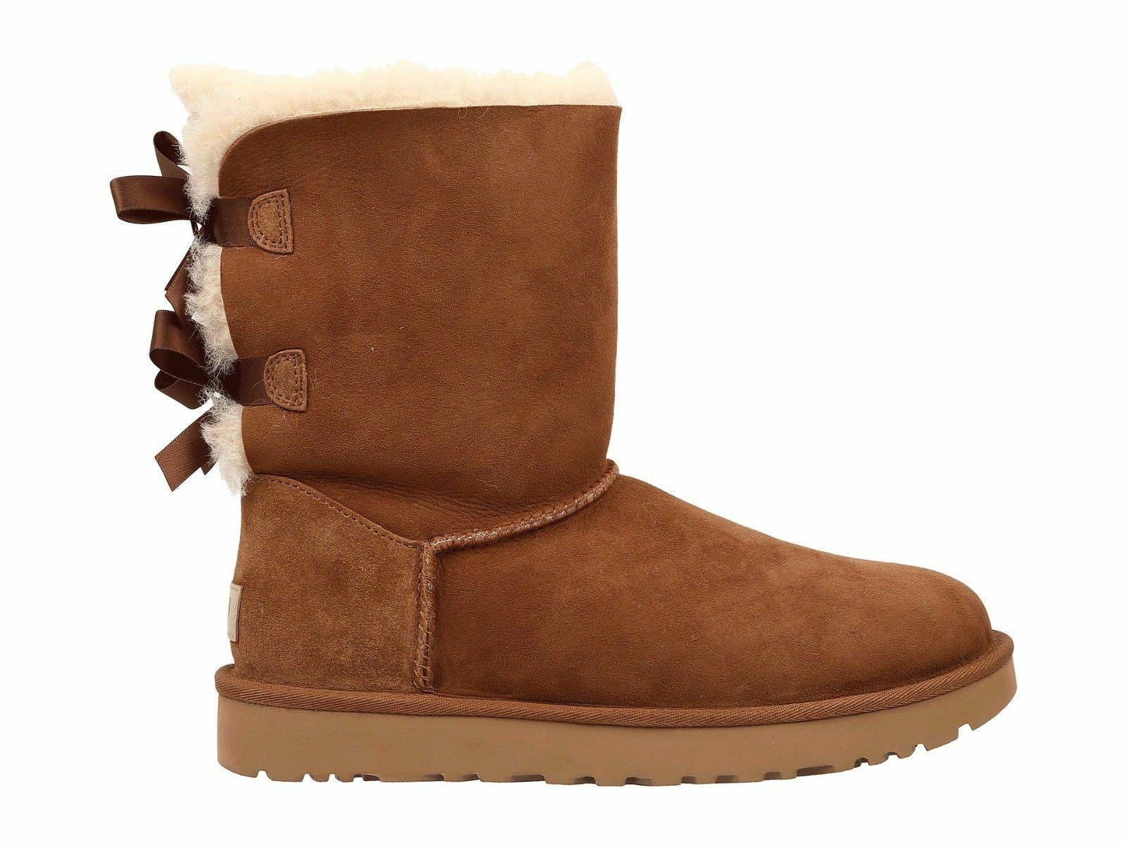 Women's Shoes UGG Bailey Bow II Boots 1016225 Chestnut Resis - *NIB*