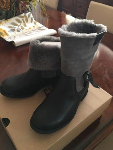 Women's UGG Cuffed Ankle Boots Resistant Black 6