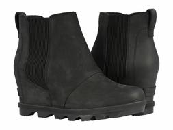 New SOREL Women's Joan of Arctic Wedge II Chelsea Boot  Blac