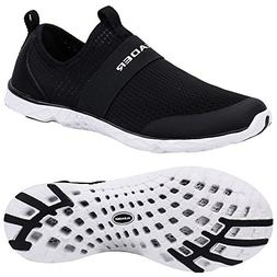 ALEADER Women's Quick-Dry Aqua Water Shoes Black/White 9 D U