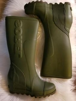 SALE!! NWB! Sorel Joan Tall Wedge Rain Boot Olive Green Sz 9