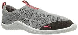 Speedo Women's Surf Knit Athletic Water Shoes, Grey/Neon Pin