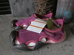 Crocs Swiftwater mesh purple pink water shoes NEW ankle stra