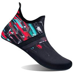 L-RUN Womens Mens Swim Shoes Barefoot Aqua Socks Black_red X