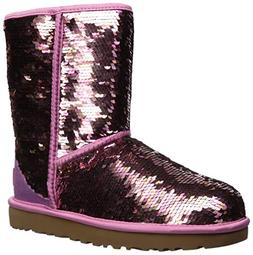 UGG Women's W Classic Short Sequin Fashion Boot, Pink, 10 M