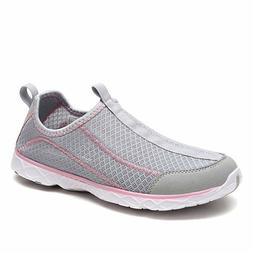Dream Pairs Women's 1610042-W Lt.Grey Pink Athletic Slip On