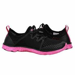 ALEADER Women's Quick Drying Aqua Water Shoes, Black/Fushia,
