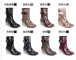 Womens Rain Shoes/Boots Fashion Water Shoes Wedge Heel Mid-c