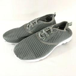 Pooluly Womens Sneakers Water Shoes Fabric Mesh Slip On Gray